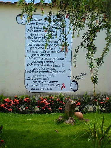 Prayer of St Francis adapted to the HIV/AIDS reality, on the garden wall at the AAVE Centre