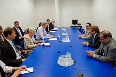 U.S. Secretary of State John Kerry meets with government officials from Saudi Arabia on July 22, 2016, at the Vienna International Center in Vienna, Austria, amid negotiations to amend the Montreal Protocol climate change agreement. [State Department Photo/ Public Domain]