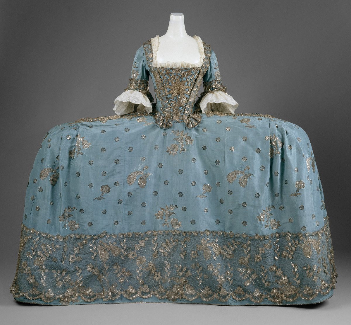 c. 1750. Court dress. British. Silk, metallic thread. metmuseum