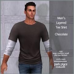 [PP Casuals] Men's Layered Tee Shirt - Chocolate