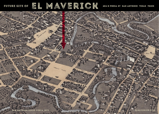 El Maverick 1873 San Antonio Map : Future Site Card