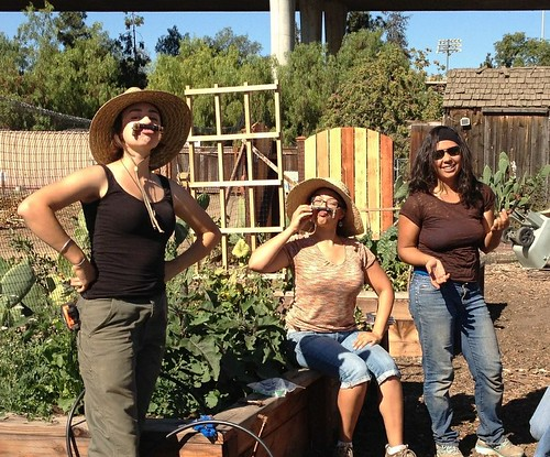 Michelle, on the right, helping in The Youth Garden
