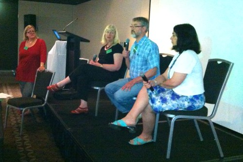 MC Judith Ridge and a panel of authors at the PMBW teacher librarians' conference