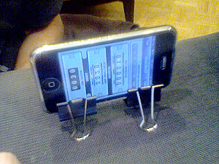 Using Paper Binder Clips As An Iphone Stand