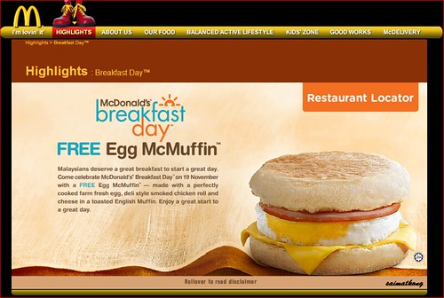 McDonald's FREE Egg McMuffin For Breakfast on 19th Nov 2012
