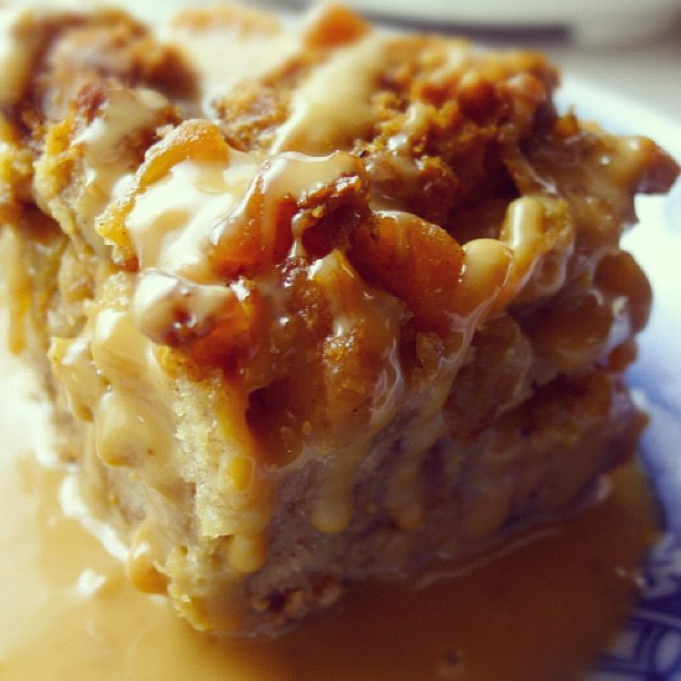 Warm sweet potato pecan bread pudding with roasted sweet potato ...