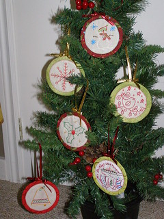 First six Aurifil ornaments