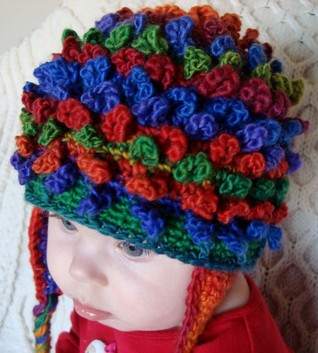 top view of lil loopy beanie