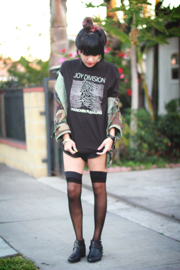 Camo jacket from shoptarte.com, vintage Joy Division shirt, American Apparel sheer thigh-high hold-ups, vintage Christion Dior bodysuit romper