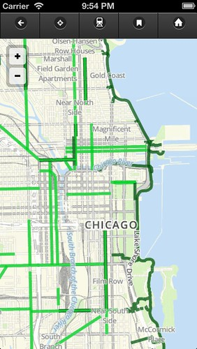 Default map view in Chicago Bike Map app, v0.5