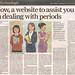Menstrupedia covered by The Sunday Guardian, Delhi 25th Nov, 2012 by Aditi's Odyssey