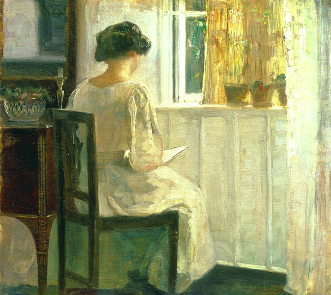 Girl Reading in a Sunlit Room