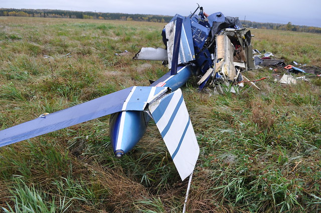 Wreckage of a Bell 206B helicopter that collided with terrain in Alberta