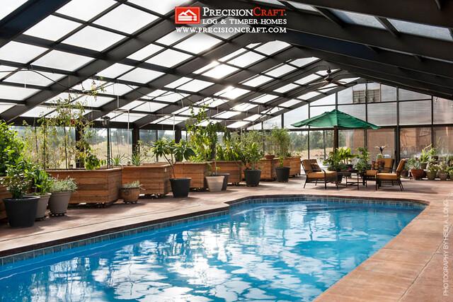 Custom Green House & Pool | Timber Frame Home | PrecisionCraft Timber Homes