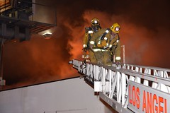 Los Angeles Firefighters Battle Encino Fire