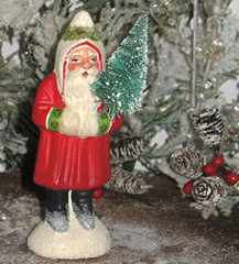 antique chocolate mold Santa