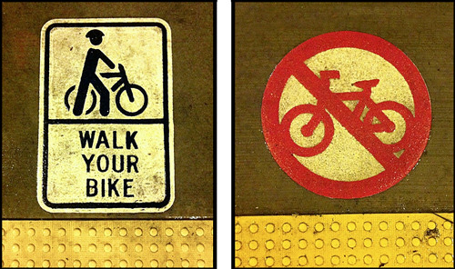 No Bikes & Walk Bike Icons - Santa Monica