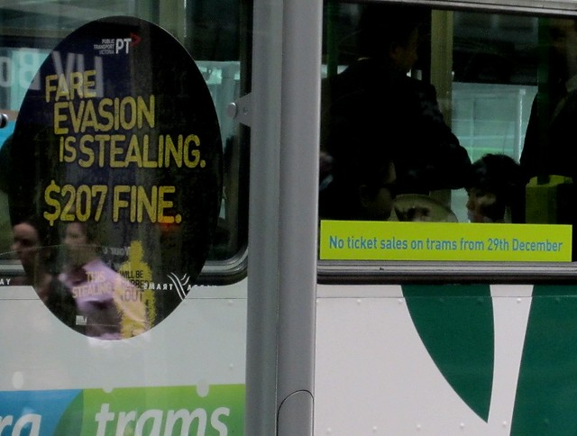 Fare evasion warning / No ticket sales on trams