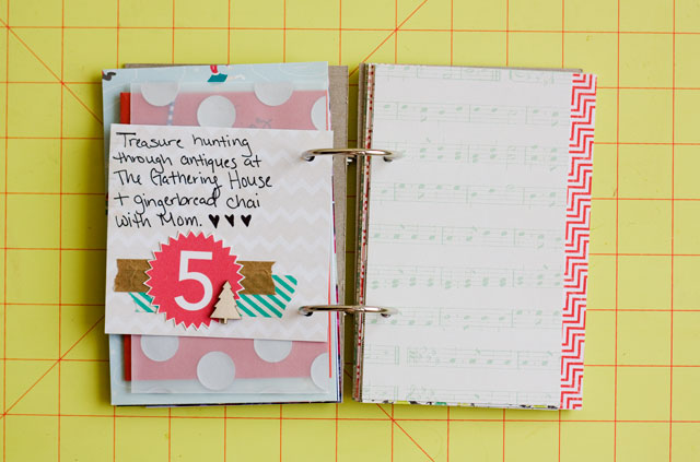 December Daily, December Daily Day 5, December Daily 2012, Scrapbooking, Mini Book, December Daily Mini Book, Holiday Mini Book, Christmas Mini Book, Holiday 2012 Mini Book, Crate Paper Sleigh Ride, Crate Paper, Papercrafting