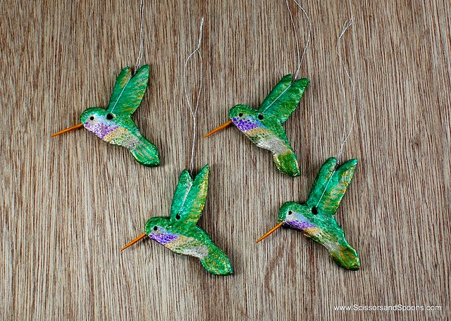DIY Salt Dough Hummingbird Ornaments