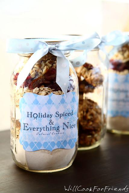 Holiday Spiced Oatmeal Cookies in Jar, 1/4