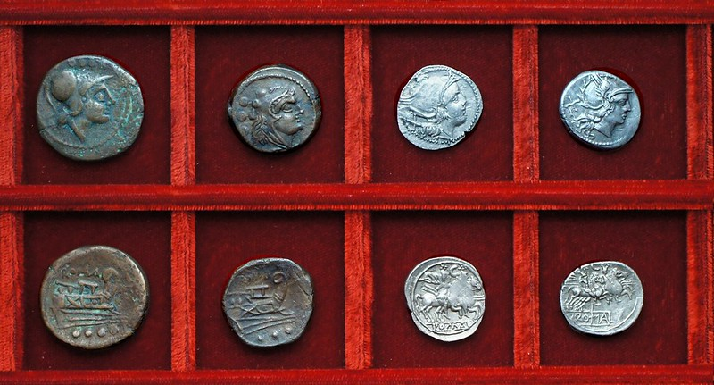 RRC 106 staff and club anonymous bronzes McCabe group E1, RRC 107 C denarii, Ahala collection, coins of the Roman Republic