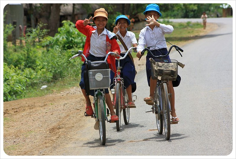 school girls on bikes near battambang