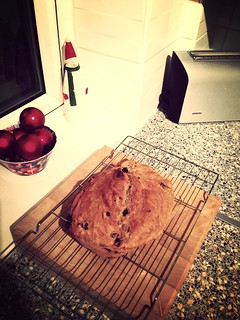 Fruity beer bread. Probably pretty dense but probably pretty tasty.