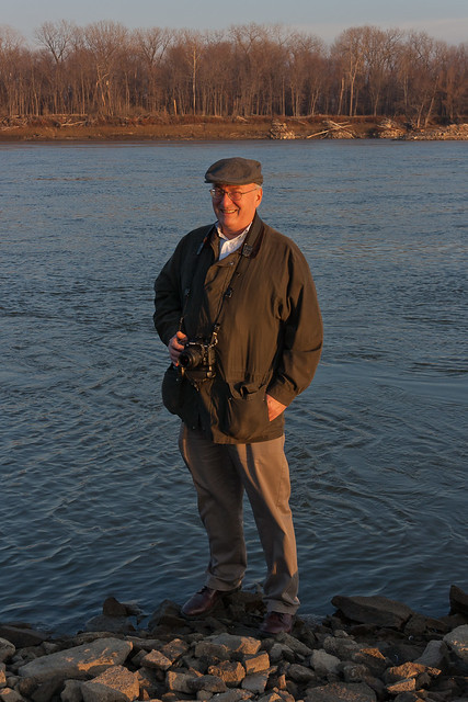 Mark S Abeln on wing dam in Missouri River at Saint Charles, Missouri, USA