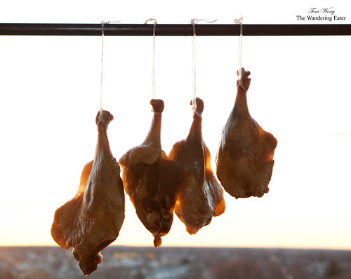 Homemade Chinese cured goose leg (臘鹅腿) getting air dried in the morning NYC sun