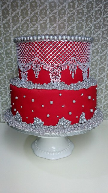 Red and Silver Laces and Pearls Cake by Chef Robbie Balmaceda of Robbie's Art Cakes