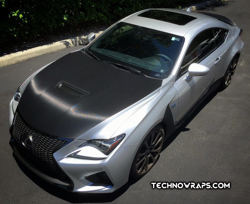 Lexus RC F black carbon fiber hood accent wrap