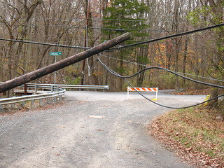 leaning pole, after hurricane Sandy