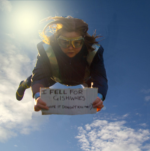 "Skydive while holding up a sign that imbeds, ""GISHWHES"" in a phrase. For example, your sign could say, ""Lose your dignity -- join GISHWHES."" Or ""GISHWHES made me do it."""