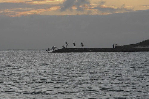 サーファーが陸に上がる瞬間