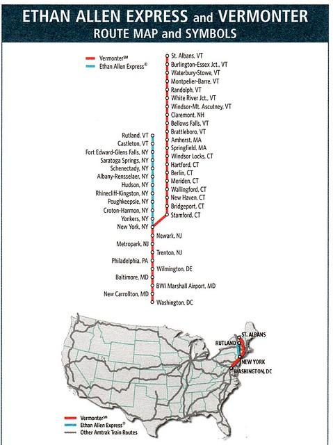 Amtrak Ethan Allen Express and Vermonter 2010 Map