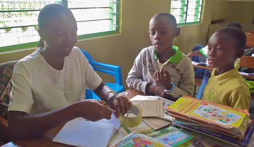 Mary Takyiwaa Mensah SSL teaching some of the younger students at St Louis Jubilee School