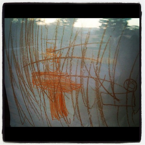 Cyrus' vision of his dad shooting a deer in the woods. He's like them cave-carving hunter-gatheres.