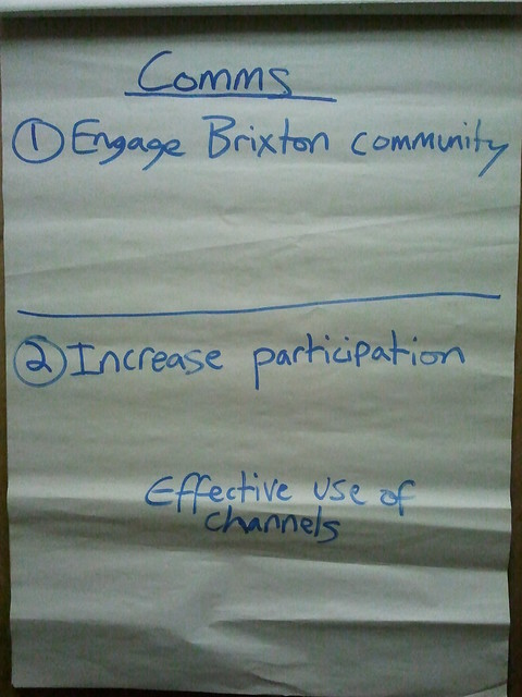 Photo of flipchart sketch made at a TTB Comms meeting on 15/11/12. It shows only 3 things - 'Engage Brixton community', 'Increase participation', 'Effective use of channels'