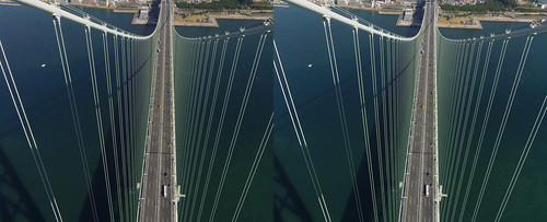 Looking down the bridge deck from top Akashi-Kaikyo Bridge, stereo parallel view