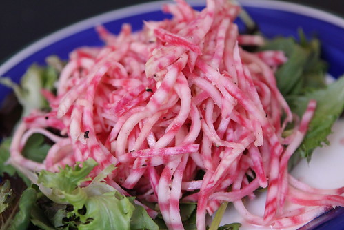Chiogga Beet Slaw with Rice Wine Vinegar and Sesame Oil