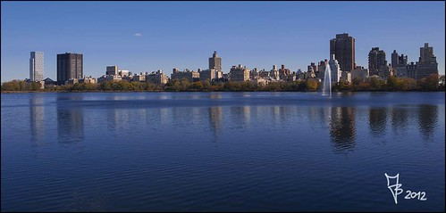 new york blue lake reflection skyline lago blu central pak riflesso