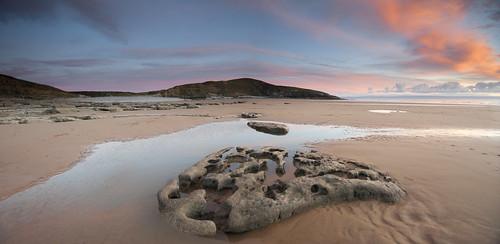 pink sunset reflection heritage nature glass wales clouds bay coast vale glamorgan coastline welsh puddles beack ogmore southerndown