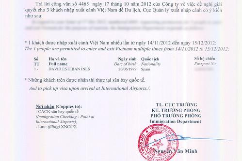 Certificado aprobación visa Vietnam