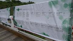 東河舊橋上正有老照片的展覽,訴說當地部落歷史。