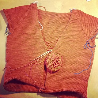 first photo of this WIP, oops. #knitting #wip #orange