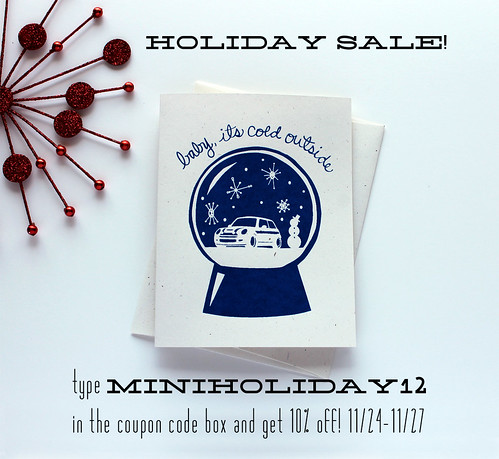 Holiday sale - handmade mini cooper gifts and stationery