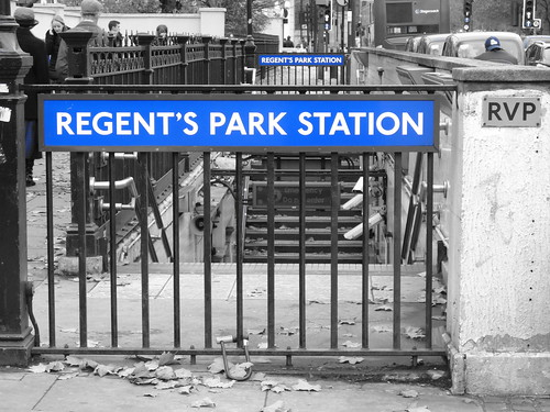 Regent's Park Station with blue filter