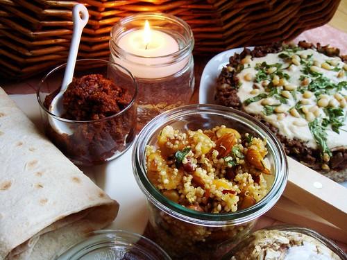 Indoor Picnic: Mouhamara Halabiya, Lavash, Quinoa Salad, Open Kibbeh