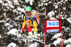 Dustin Cook during World Cup downhill in Lake Louise.